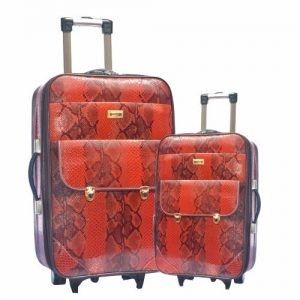 Mendels Animal Skin Trolley Travel Bags 2 Piece Set