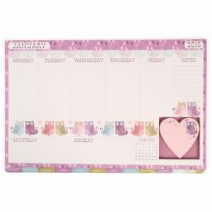 Owl Themed 2016 Desk Planner with Sticky Notes
