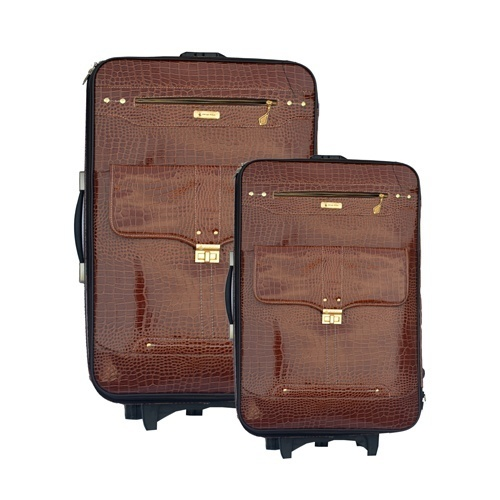 Trolley Travel Bags 2-Piece Set - Leather