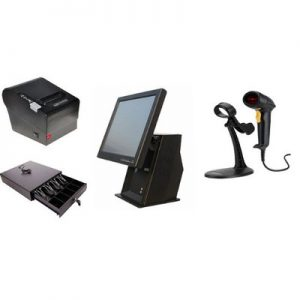 "Point of Sale System Hardware Only Kit D – 15"" Touchscreen, Receipt Printer, Barcode Scanner"