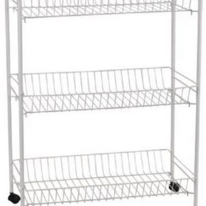 Universal 3-Tier Storage Cart with Wheel – White